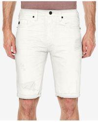 Buffalo David Bitton - White Parker Slim-fit Destroyed Denim Shorts for Men - Lyst