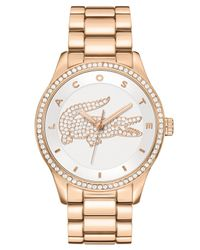 Lacoste - Pink Victoria Rose Gold Ion-plated Stainless Steel Bracelet 40mm 2000828 - Lyst