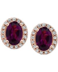 Effy Collection - Metallic Rhodolite Garnet (1-1/10 Ct. T.w.) And Diamond (1/8 Ct. T.w.) Stud Earrings In 14k Rose Gold - Lyst