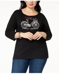 Karen Scott - Black Plus Size Cotton Embellished T-shirt, Created For Macy's - Lyst