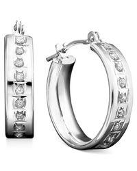Macy's | Metallic 14k White Or Yellow Gold Earrings, Diamond Accent Mini Hoop Earrings | Lyst