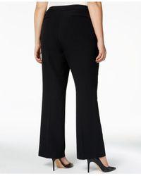 Anne Klein - Black Plus Size Straight-leg Trousers - Lyst