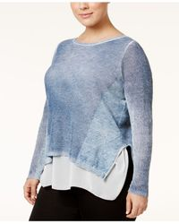 INC International Concepts | Blue Plus Size Layered-look Sweater | Lyst
