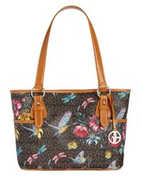 Giani Bernini | Brown Floral Bird-print Signature Tote | Lyst