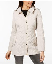 Jones New York - Natural Hooded Quilted Coat - Lyst