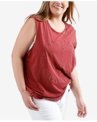 Lucky Brand - Red Trendy Plus Size Cotton Ripped Tank Top - Lyst