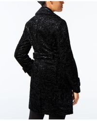 Jones New York - Black Faux-fur Walker Coat - Lyst