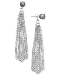 INC International Concepts | Metallic Imitation Pearl Tassel Drop Earrings | Lyst