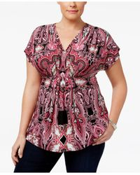INC International Concepts | Red Plus Size Printed Pleated Top | Lyst