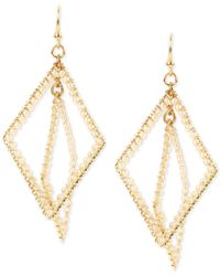 INC International Concepts | Metallic Gold-tone Imitation Pearl Geometric Orbital Drop Earrings | Lyst