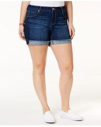 Celebrity Pink | Blue Trendy Plus Size Denim Frayed Shorts | Lyst