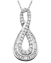 Macy's | Diamond (1/2 Ct. T.w.) Infinity Pendant Necklace In 14k White Gold | Lyst