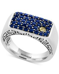 Effy Collection | Metallic Men's Sapphire Ring (1-3/8 Ct. T.w.) In Sterling Silver, 18k Gold And Black Rhodium for Men | Lyst