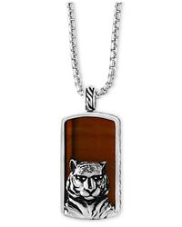 Effy Collection | Metallic Men's Tiger-eye (35-1/2 X 19mm) Tiger Pendant Necklace In Sterling Silver And Black Rhodium for Men | Lyst