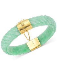 Macy's | Green Dyed Jadeite Bangle Bracelet In 14k Gold Over Sterling Silver | Lyst