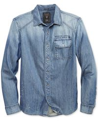 Guess - Blue Men's Embroidered-logo Denim Shirt for Men - Lyst