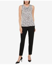 Tommy Hilfiger - Black Floral-print Tie-neck Top - Lyst