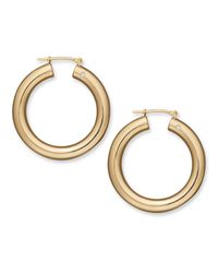 Signature Gold - Metallic Diamond Accent Round Hoop Earrings In 14k Gold - Lyst