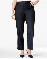 Anne Klein | Blue Plus Size Denim Twill Straight-leg Pants | Lyst
