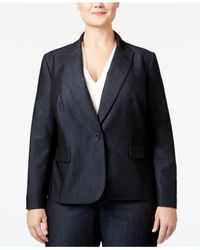 Anne Klein | Blue Plus Size Denim Twill One-button Blazer | Lyst