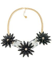 Trina Turk | Metallic Gold-tone Black Flower And Crystal Nugget Statement Necklace | Lyst
