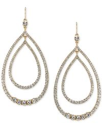 Trina Turk | Metallic Gold-tone Multi-crystal Double Teardrop Orbital Drop Earrings | Lyst