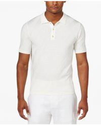 Sean John | White Men's Big & Tall Diagonally Striped Sweater Polo for Men | Lyst