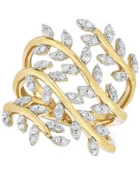 Macy's | Metallic Diamond Leaf Ring (1/2 Ct. T.w.) In 14k Gold-plated Sterling Silver | Lyst