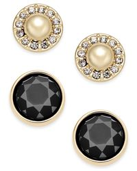 Charter Club | Black Gold-tone Imitation Pearl Pavé And Colored Stone 2-pc. Set Stud Earrings | Lyst