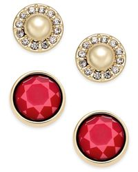 Charter Club - Gold-tone Imitation Pearl Pavé And Colored Stone 2-pc. Set Stud Earrings - Lyst