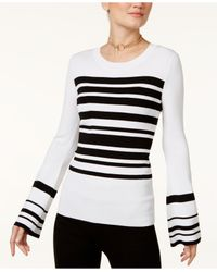 INC International Concepts | White Striped Bell-sleeve Sweater | Lyst