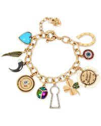 Betsey Johnson | Metallic Gold-tone Multi-charm Bracelet | Lyst
