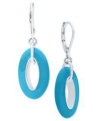 Anne Klein - Blue Colored Oval Drop Earrings - Lyst