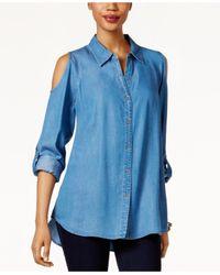 Style & Co. | Blue Denim Cold-shoulder Shirt | Lyst