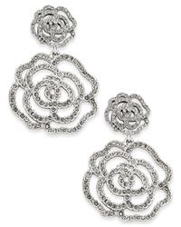 Kate Spade | Metallic Silver-tone Pavé Rose Drop Earrings | Lyst