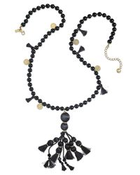 kate spade new york | Black 12k Gold-plated Bead And Tassel Pendant Necklace | Lyst