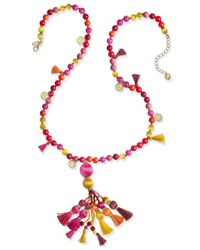 kate spade new york   Multicolor 12k Gold-plated Bead And Tassel Pendant Necklace   Lyst