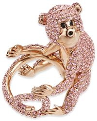 kate spade new york - Multicolor Rose Gold-tone Pink Pavé Monkey Ring - Lyst