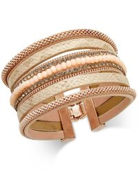 INC International Concepts | Metallic Rose Gold-tone Wide Faux Leather Beaded Bracelet | Lyst