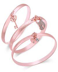 INC International Concepts | Pink Rose Gold-tone 3-pc. Set Pavé Charm Bangle Bracelets | Lyst