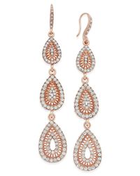 INC International Concepts | Metallic Rose Gold-tone Pavé Filigree Triple Drop Earrings | Lyst