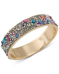 ABS By Allen Schwartz | Metallic Gold-tone Stone And Crystal Inlay Bangle Bracelet | Lyst