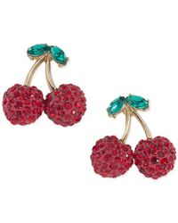 ABS By Allen Schwartz - Metallic Gold-tone Pavé Cherry Drop Earrings - Lyst