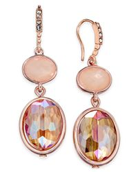 INC International Concepts | Rose Gold-tone Pink Stone Double Drop Earrings | Lyst