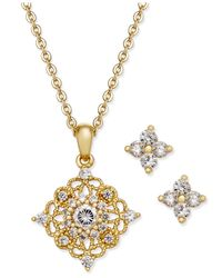 Charter Club | Metallic Gold-tone Crystal Pendant Necklace And Matching Stud Earrings Set | Lyst