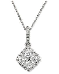 Macy's - Diamond Halo Pendant Necklace (1 Ct. T.w.) In 14k White Gold - Lyst