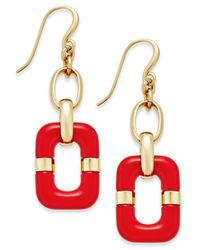 Charter Club | Red Link Drop Earrings | Lyst