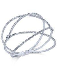 INC International Concepts | Metallic Silver-tone Pavé Flex Cuff Bracelet | Lyst