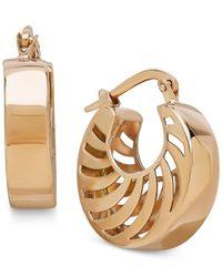 Macy's   Metallic Double Swirl Cutout Hoop Earrings In 14k Gold   Lyst