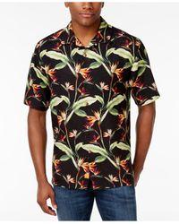 Tommy Bahama | Black Men's Porto De Paradise Foliage Print Silk Shirt for Men | Lyst
